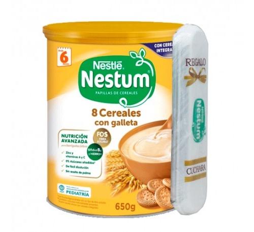 Nestle nestum 8 cereales con galleta con cuchara (650 g)