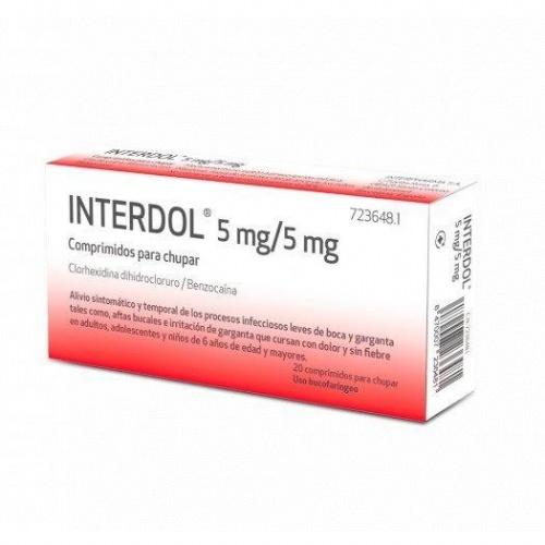 INTERDOL 5 MG/5 MG COMPRIMIDOS PARA CHUPAR , 20 comprimidos