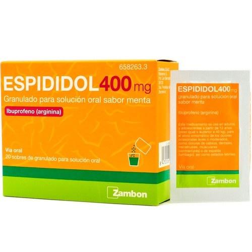 ESPIDIDOL 400 mg GRANULADO PARA SOLUCION ORAL SABOR MENTA , 20 sobres